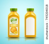 orange juice bottle set ... | Shutterstock .eps vector #745204018