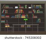 library interior with... | Shutterstock . vector #745208302