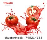 fresh tomato with juice  3d... | Shutterstock . vector #745214155