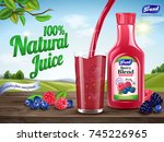 natural berry blend juice ads ... | Shutterstock .eps vector #745226965