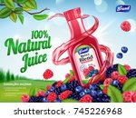 natural berry blend juice ads ... | Shutterstock .eps vector #745226968