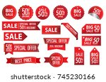 collection of red discount...   Shutterstock .eps vector #745230166