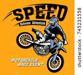 motorcycle motocross | Shutterstock .eps vector #745231558