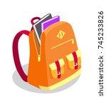 backpack full of books vector... | Shutterstock .eps vector #745233826
