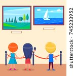 art gallery excursion for... | Shutterstock .eps vector #745233952