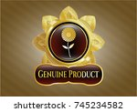 gold emblem or badge with... | Shutterstock .eps vector #745234582