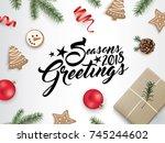 2018 christmas flat lay design... | Shutterstock .eps vector #745244602