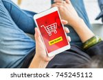 add to cart button on mobile... | Shutterstock . vector #745245112