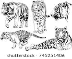 set of vector drawings on the... | Shutterstock .eps vector #745251406
