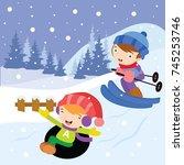 kids play in winter. children... | Shutterstock .eps vector #745253746