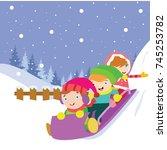 kids play in winter. children... | Shutterstock .eps vector #745253782