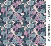 indian floral paisley seamless...   Shutterstock .eps vector #745259785