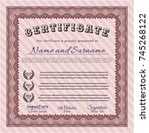 red diploma. detailed. with... | Shutterstock .eps vector #745268122