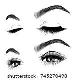 hand drawn woman's fresh makeup ... | Shutterstock .eps vector #745270498
