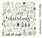 christmas and new year doodles... | Shutterstock .eps vector #745271386