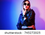 fashion portrait of young... | Shutterstock . vector #745272025