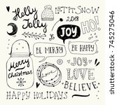 christmas and new year doodles...   Shutterstock .eps vector #745275046