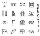 thin line icon set   billboard  ... | Shutterstock .eps vector #745277062