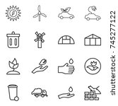 thin line icon set   sun power  ... | Shutterstock .eps vector #745277122