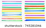 highlight brush stroke set.... | Shutterstock .eps vector #745281046