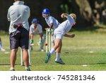 cricket juniors bowler ball... | Shutterstock . vector #745281346