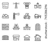 thin line icon set   shop ... | Shutterstock .eps vector #745286296
