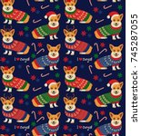 seamless christmas pattern with ... | Shutterstock .eps vector #745287055