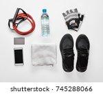 composition of sport equipment | Shutterstock . vector #745288066