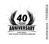 40 years design template.... | Shutterstock .eps vector #745288816