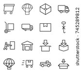 thin line icon set   delivery ... | Shutterstock .eps vector #745289812