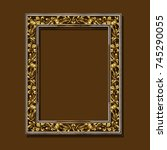 frame gold color with shadow on ... | Shutterstock .eps vector #745290055