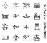 thin line icon set   plane ... | Shutterstock .eps vector #745297378