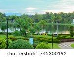landscape of recreation park | Shutterstock . vector #745300192