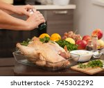 recipes cooking turkey in the... | Shutterstock . vector #745302292