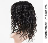 curly black human hair lace...   Shutterstock . vector #745305496