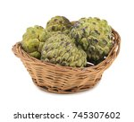 Small photo of Sweet And Healthy Fruit Custard Apple Also Know as Sitafal, Sweetsop, Annona Squamosa, Sugar Apple, Sitaphal or Anona in Basket isolated on White Background