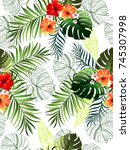 seamless tropical pattern with... | Shutterstock .eps vector #745307998