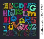 hand drawn decorative... | Shutterstock .eps vector #745311202