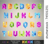 trendy colorful alphabet based... | Shutterstock .eps vector #74531251