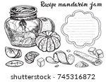 mandarin  jam sketch.vector... | Shutterstock .eps vector #745316872