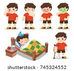 set of a boy get sick. he has... | Shutterstock .eps vector #745324552