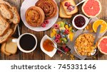 healthy breakfast with coffe... | Shutterstock . vector #745331146