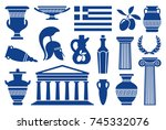 traditional symbols of greece.... | Shutterstock .eps vector #745332076