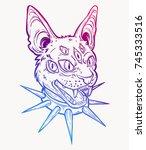 cat head portrait in choker....   Shutterstock .eps vector #745333516