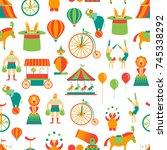 cartoon circus background... | Shutterstock .eps vector #745338292