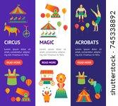 cartoon circus banner vecrtical ... | Shutterstock .eps vector #745338892