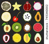 set of fresh hand drawn fruits... | Shutterstock . vector #745340002