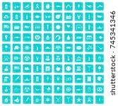 100 summer holidays icons set... | Shutterstock .eps vector #745341346