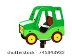 wooden baby car isolated on... | Shutterstock . vector #745343932