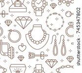 jewelry seamless pattern  line... | Shutterstock .eps vector #745347802